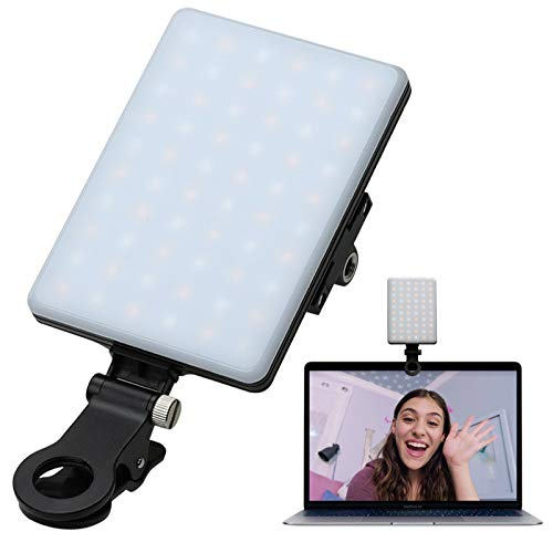 Video Conference Lighting for Computer&MacBook, 60 LED Rechargeable Laptop Webcam Lighting for Video Recording, Zoom Lighting for Computer, Remote Working, Zoom Calls, Self Broadcasting,Live Streaming