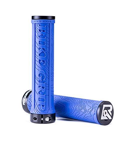 ROCKBROS Manopole Bici 22mm in Gomma Antiscivolo con Anelli di Bloccaggio in Alluminio e Tappi Ultra-leggere per Bici/mtb/Bici Pieghevole (Blu)