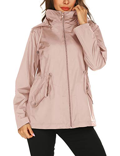 Spring Summer Sports Jackets Casual Jackets with Hood in Rain Wind Proof Coats Hiking Travel Sports Pink