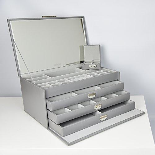 Dulwich Designs | extra große graue Schmuckschatulle aus erstklassigem Lederfaserstoff