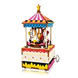 Hands Craft AM304 | DIY 3D Wooden Puzzle - DIY Hand Crank Music Box- Merry-go-Round Brain Teaser Toy- Plays You are My Sunshine for Kids/Adults for Christmas, Birthday, Baby Shower,