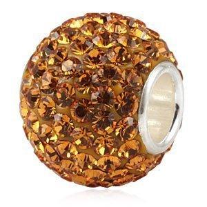 Andante-Stones 925 Sterling Silber Kristall Glitzer Bead Charm Bernstein als Kettenanhänger oder Element für Bettelarmbänder + Organzasäckchen