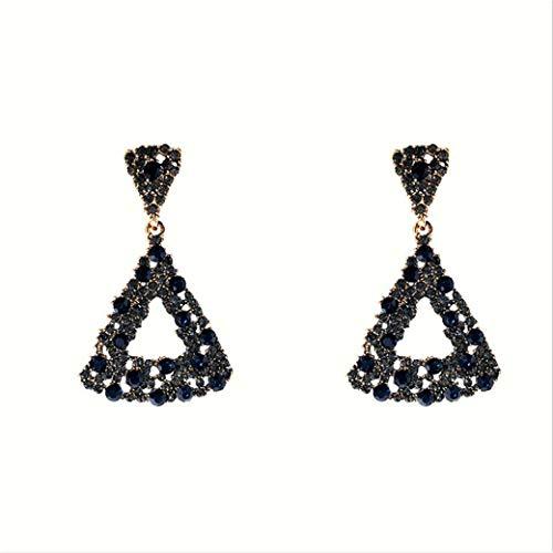HBWHY Pendientes brillantes con diseño de triángulo brillante y gancho de diamantes de imitación, elegantes pendientes de gota para mujeres y niñas