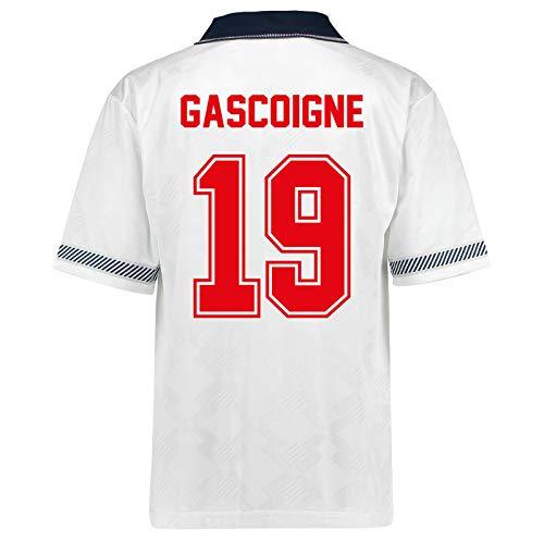 "Unbekannt Englische Nationalmannschaft - Herren Trikot WM 1990 - Heim- & Auswärtstrikot - Weiß - Aufschrift ""Gascoigne 19"" - 3XL"