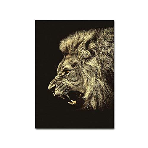 tzxdbh Moderne dierposters en prints gouden howling leeuw muur A4 kunst canvas schilderij slaapkamer decoratie foto's voor woonkamer 50x70cm Geen frame.