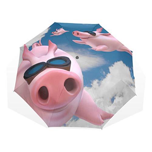 Regenschirm Nettes lustiges fliegendes Schwein 3 faltet leichtes Anti-UV