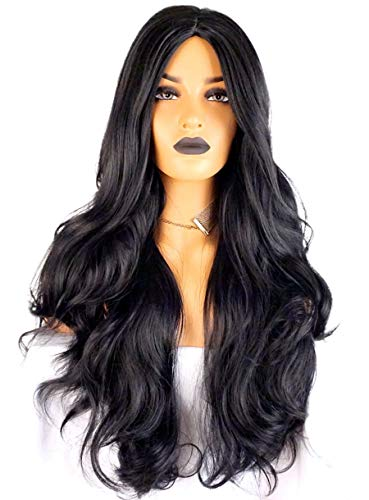 Long black straight wig 30 in wig Wavy Curly 29.5 inches Wigs Natural Black Heat Resistant Fiber Side Part Women Synthetic Hair Side Part Wigs for white Women (1b-Sidebangs)