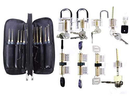 9pièces de combinaisons de verrouillage transparentes avec 24pièces de crochetage de serrure, outils de serrurier professionnels par TPM Go