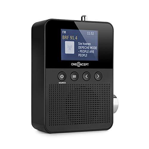 oneConcept Plug+Play Dab Radio de Enchufe • Bluetooth • Radio Digital • Sintonizador Dab+/FM • RDS • USB • Búsqueda de emisora automática • Pantalla TFT • Antena Extensible • Compatible EU/UK • Negro