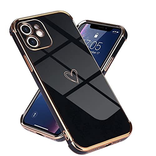 Micoden Kompatibel mit iPhone 11 Hülle,Cute Herz Mädchen Weich Silikon TPU Galvanisierte Handyhülle Ultra Dünn Stoßfeste Schutzhülle Bumper Hülle für Apple iPhone 11,schwarz