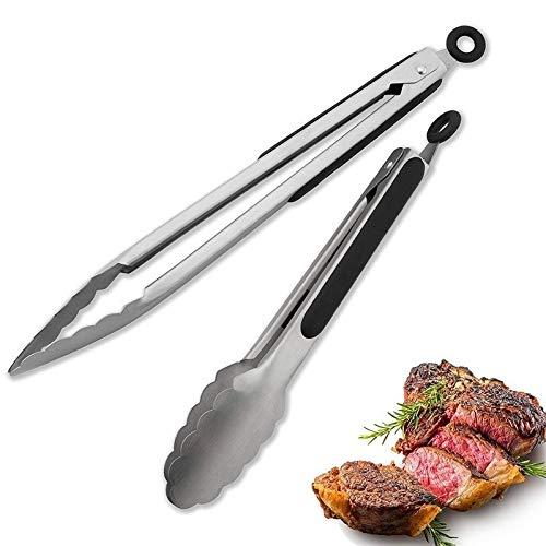 WLKJ Geschirr Küche-Zangen-Edelstahl-Grillzange, zum Kochen Barbecue Anti-Rutsch-Salat Tongs (Color : 16 inch)