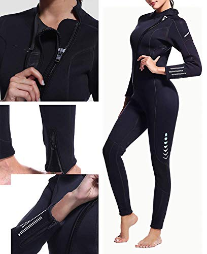 Womens Full Length 3 Mm Winter Wetsuit, Adult Neoprene Surfing Diving Wetsuit Swimming Sailing for Girl Lady,XL
