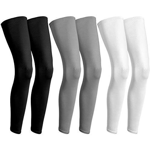 3 Pairs Full Compression Leg Sleeves UV Protection Outdoor Sports Cycling (black, white, grey, XXL)