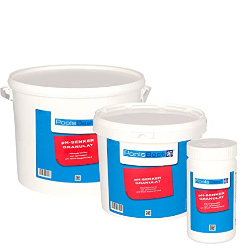 POOLSBEST® 5 kg pH Senker Granulat für Pools - wirksames Granulat inklusive Messbecher - pH Minus zur optimalen pH-Wert Stabilisierung
