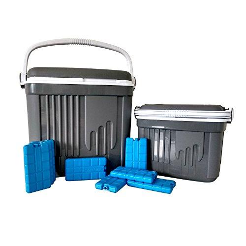 ToCi Kühlbox Groß und Klein | 2 Passive Kühlboxen (32 und 8 Liter) in Grau | Camping Kühltaschen-Set mit 8 Kühlakkus (200ml)