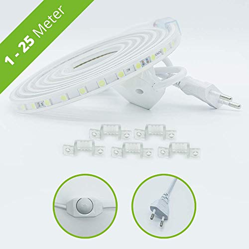 LED Streifen dimmbar 1-25 Meter frei wählbar – LED Lichtleiste Strip – 230V LED Lichtband (kaltweiß, 1m)