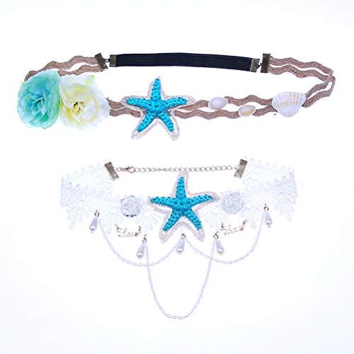 Mermaid starfish headband Bohemian wedding corolla summer beach style elastic lace pearl flower shell necklace accessories(white lace choker+flower headpiece)