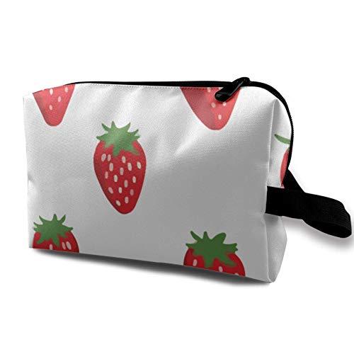 XCNGG Frauen Make-up Taschen Mehrzweck tragbare Reise Kosmetiktasche mit Reißverschluss Erdbeer-Muster