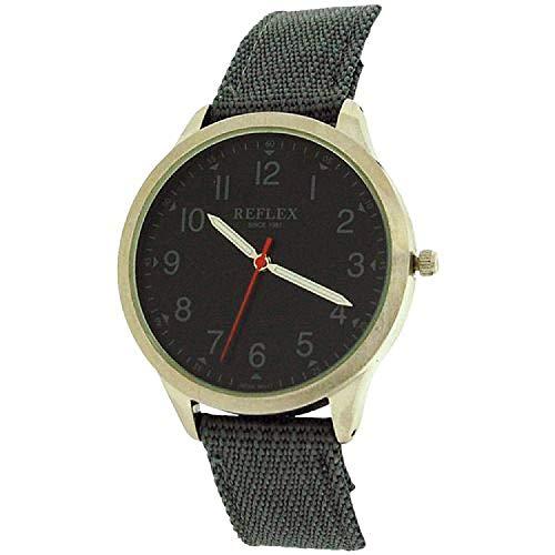 Reflex analoge Herren Teen Armbanduhr, graues Zifferbl. & Nylon Band REF0002