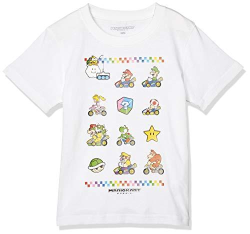 [マリオカート] Tシャツ KIDS 半袖 コットン マリオVSクッパ ホワイト 日本 140 (日本サイズ140 相当)