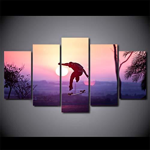 WJDJT 5-delig canvas kunstdruk modern muur ophangen home decoratie afbeelding design Hd Panel Skateboarding sport zonsondergang canvas afdrukken poster wand 200X100cm 150x80cm