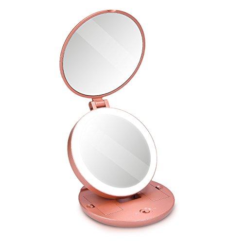 Navaris Specchio da Trucco Doppio a LED - Specchietto Portatile con Luce e Ingrandimento 5x e 1x - Specchio Make-Up luminoso da Borsa - rosa oro matt