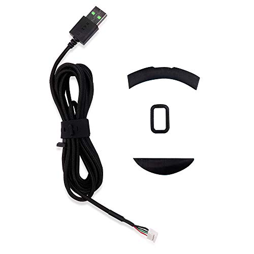 HUYUN USB Mouse Cable Mice Line & feet Replacement for Razer DeathAdder Elite Chroma Multi-Color Gaming Mouse (Elite Cable+feet)