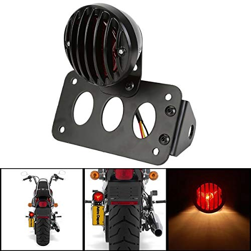NATGIC Motorcycle Tail Light Brake Light 12V Running Light Indicator Lights License Plate Light Stop Light with Bracket - Black Shell + Red Lights