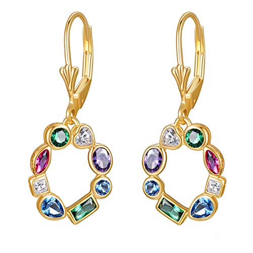 925 Sterling Silver Round Drop Earrings for Women, 18K Gold Plated Leverback Dangle, with Colorful AAA Cubic Zirconia Heart Square Birthstone (colored cz)