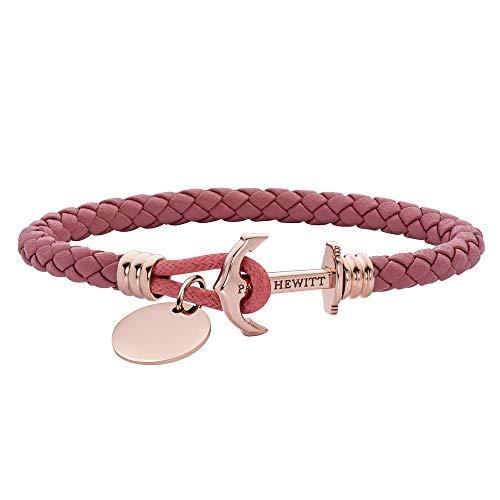 PAUL HEWITT Anker Armband auf einem Gravur PHREP Lite - Segeltau Armband Leder Damen (Raspberry) mit individueller Wunschgravur auf einem Anhänger, Schmuck aus IP-Edelstahl (Roségold)