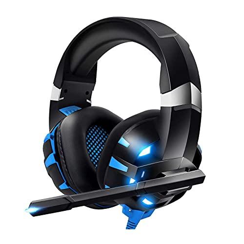 Auriculares para videojuegos, con micrófono transparente y luz LED, adaptador no incluido, compatible con PC, PS4, mando Xbox One