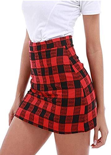 Zarupeng Mädchen Gitter Gestreift Schuluniform Faltenrock Baumwolle Tartan Röcke (S, Rot)