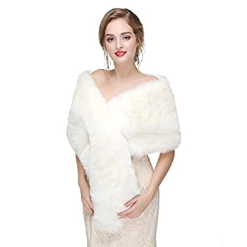 Decahome Faux Fur Shawl Wrap Stole Shrug Winter Bridal Wedding Cover Up  Medium MPJ45