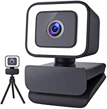 Webcam with Microphone, MOSONTH 1080P Web Camera with Light, Tripod Stand, Fixed-Focus, Auto Light Correction, for Video Conferencing, Teaching, Streaming and Gaming