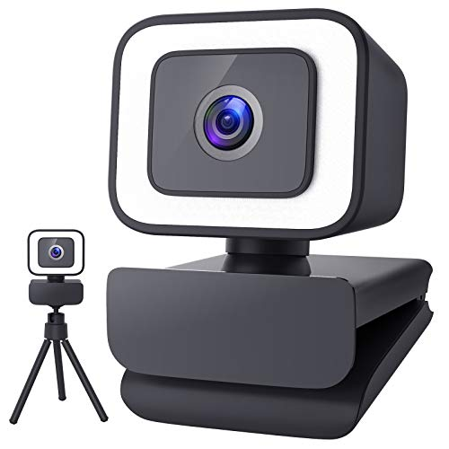 1080P Webcam with Microphone for Desktop, 2021 Upgraded FHD 30fps Streaming Webcam with Light and Tripod, USB Web Camera for Video Conferencing, Teaching, Streaming on Laptop
