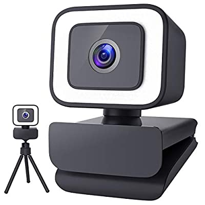 MOSONTH 1080P Web Camera with Light, Tripod Stand