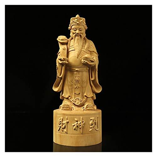 kerryshop Estatua Dios de la Riqueza Estatua de Madera Arte Moderno Mano Tallada a Mano Buda Estatua de la decoración del hogar Accesorios de Madera sólida Dios de la Riqueza Estatua de Buda