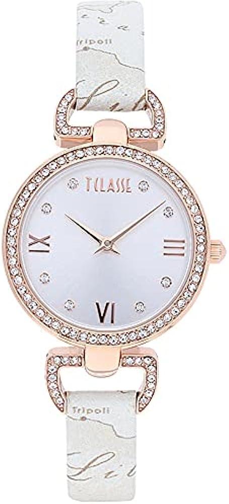 Alviero martini - orologio madagascar per donna, in acciaio inossidabile 316l,cristalli e cinturino in pelle CS.4230L/03