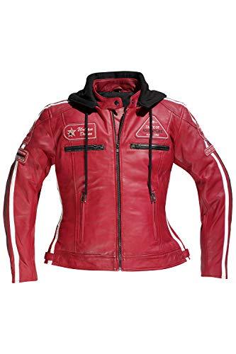 Difi JOLENE Motorradjacke Leder Damen Farbe kirschrot, Größe 42