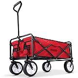 Deuba Carrito de Transporte Multiuso Rojo y Negro con Bolsillos y Eje Plegable para Sus Compras Salidas Camping