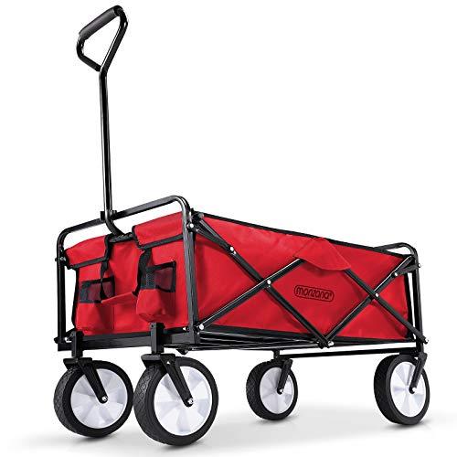 Deuba Bollerwagen faltbar klappbar Vollgummireifen Getränkehalter Handwagen Gartenwagen Transportwagen Strandwagen rot