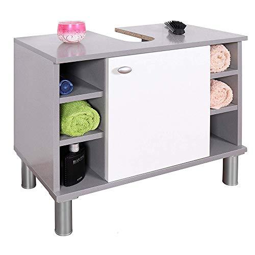 RICOO WM100-PL-W Waschbecken Unterschrank Badezimmer Waschtisch Klein Holz Hell Grau Türe Weiß Badschrank für Bad Gäste WC ohne Becken