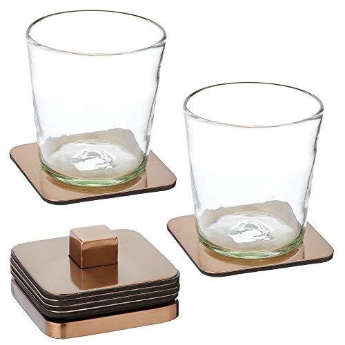 mDesign Set da 6 portabicchieri impilabile – Moderno sotto tazza in acciaio per cucina o soggiorno – Sottobicchiere trasportabile per bar, tavolo o mobiletto – bronzo