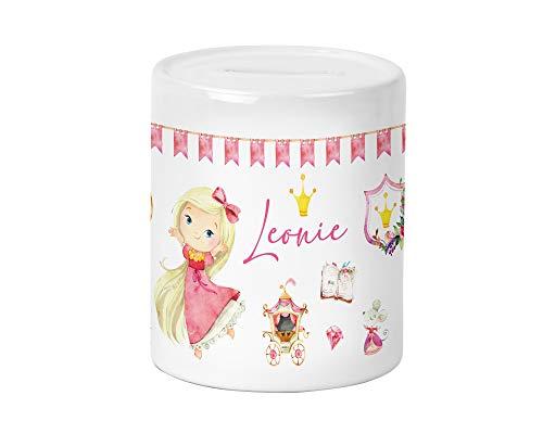 Yuweli Prinzessin mit blonden Haaren Spardose für Kinder Mädchen mit Namen personalisiert zur Einschulung Taufe Geburtstag Geburt Sparschwein Geldgeschenk Kinderspardose…