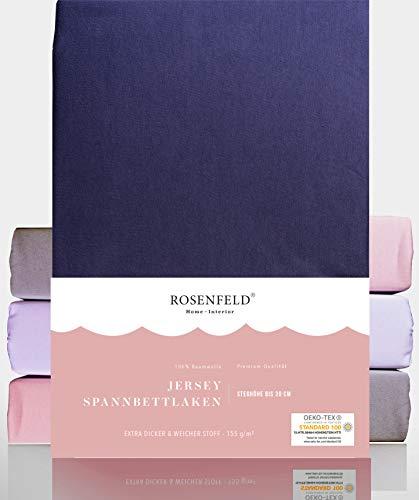 Rosenfeld Spannbettlaken Jersey - 100% extra Dicke und weiche Baumwolle, Spannbettlaken 140x200cm - Bettlaken für Steghöhe bis 30 cm, anthrazit