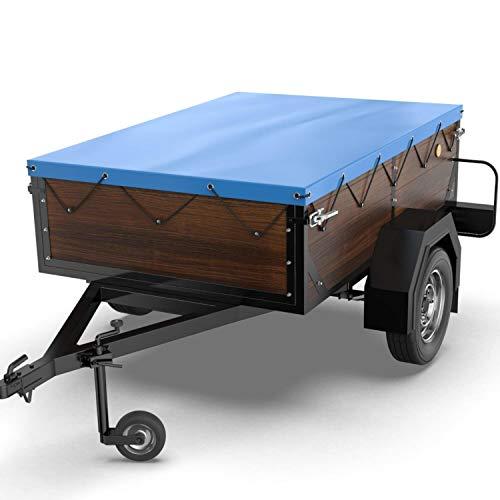 Tarpofix® Anhängerplane Flachplane 160 x 110 x 7,5 cm - inkl. Planengummi - randverstärktes Anhänger Planen-Set (blau) - langlebige Anhänger Abdeckplane für Stema DDR Hänger u. a. HP 500 650 etc.