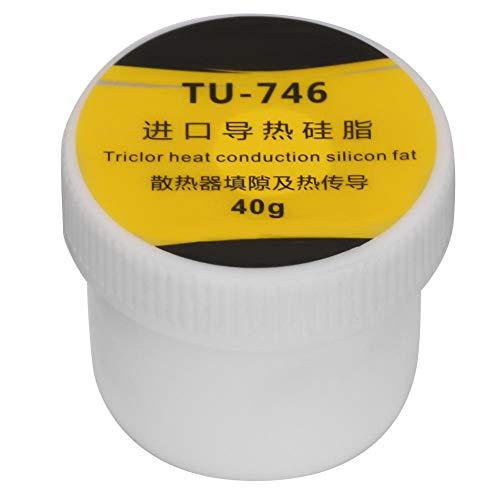 Pasta de grasa conductora térmica, compuesto de silicona para disipador de calor CPU GPU blanco, 40 g