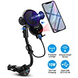 Wireless Car Charger Mount,Walotar Car Cigarette Lighter Phone Holder,Auto Clamping 10W 7.5W Qi Fast Charging Dual USB Port Air Vent Cradle for Cell Phone
