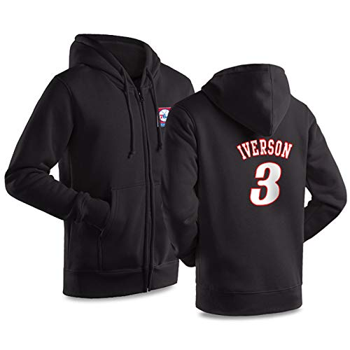 ILHF Allen Basketball Jersey Iverson # 3 Basketball Hoodie Raning Jersey Fans Sweatshirt Training Trikots,Schwarz,S