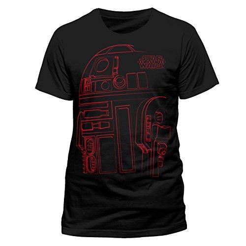 Star Wars 8 The Last Jedi - R2D2 Lines T-Shirt Black (Unisex) (2XL)